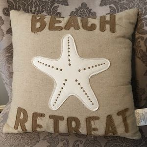 "Beach Retreat Burlap Throw Pillow 16"" by Sonoma"